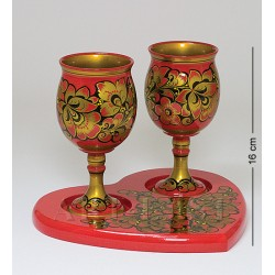 "Set of wooden Glass Khokhlomaes Khokhloma ""For couple"""