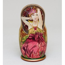 """Alphonse Mucha"" Set of 5 Miniature Nesting Dolls"