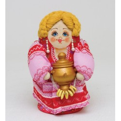 """Girl with Samovar"" Set of 5 Nesting Dolls"