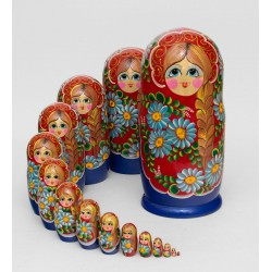 """Lubasha"" Set of 15 Miniature Nesting Dolls"