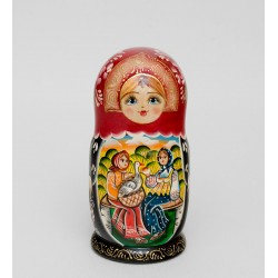 """Matryona with Goose"" Set of 5 Miniature Nesting Dolls"