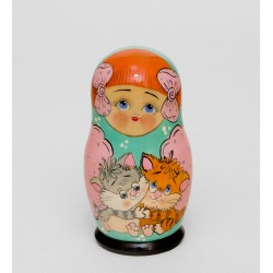 """Annie with Kittens"" Set of 5 Miniature Nesting Dolls"