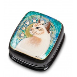 Russian Painted Box Fedoskino '' Cat ''