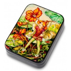Russian Painted Box Fedoskino '' Nasturtium ''