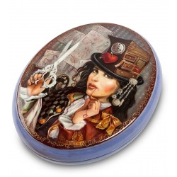 Russian Painted Box Fedoskino '' Thread of life ''