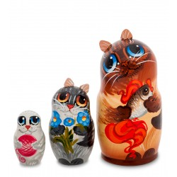 """Cat"" Set of 3 Miniature Nesting Dolls"