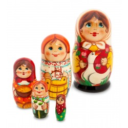"""Girl with Goose"" Set of 5 Miniature Nesting Dolls"
