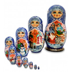 """Festivities"" Set of 10 Miniature Nesting Dolls"