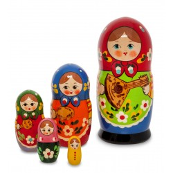 """Alice with Balalaika"" Set of 5 Miniature Nesting Dolls"