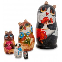"""Cat"" Set of 5 Miniature Nesting Dolls"