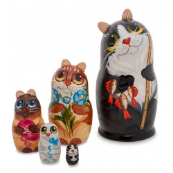 """Cat"" Set of 5 Miniature Nesting Dolls B"