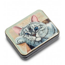 Russian Painted Box Fedoskino '' Cat '' isp.Lidyaeva