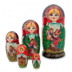 """Masha and the Bear"" Set of 5 Miniature Nesting Dolls"