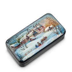 Russian Painted Box Fedoskino '' for the evening '' Belov