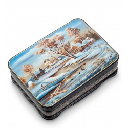 Russian Painted Box Fedoskino '' landscape '' App. Belova