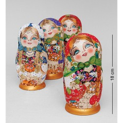 """Dorothea"" Set of 5 Miniature Nesting Dolls"