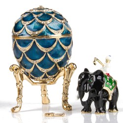 Faberge Pine Cone Egg / Elephant Surprise (blue) 8.5 cm (replica)