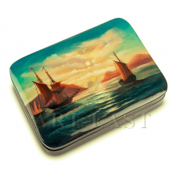 Russian Painted Box Fedoskino '' Sea '' aut. Kotova A.