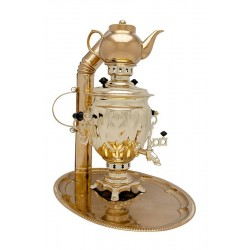Charcoal-burning samovar 2,5 liters «Tula» in a set «Presenr»