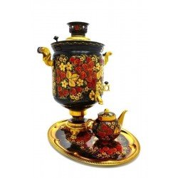 Electric samovar 10 liters «Jar» in a set with painting «Khokhloma»