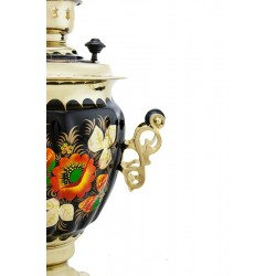 Electric samovar 3 liters «Acorn» in a set with painting «Papavers on black»