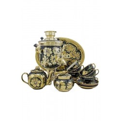 Electric samovar 3 liters «Jar» in a tea set «Cock on gold» (with automatic power off)
