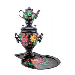 Electric samovar 3 liters «Acorn» in a set with painting «Flowers of Zhostovo» (with automatic power off)