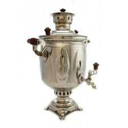 Charcoal-burning samovar 5 liters «Leaf» second quality, nickel