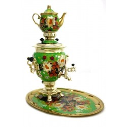Electric samovar 3 liters «Acorn» in a set with painting «Camomiles»