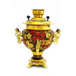 Electric samovar 3 liters «Oval» in a set with painting «Classic khokhloma»