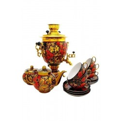 Electric samovar 3 liters «Acorn» in a tea set «Classic khokhloma»with automatic power off