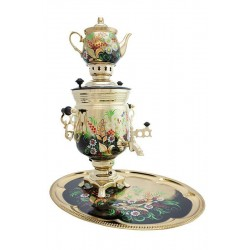 Electric samovar 3 liters «Jar» in a set with painting «Camomiles on gold» (with automatic power off)