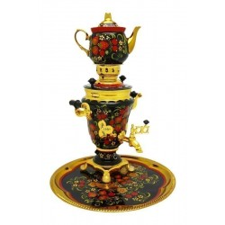 Electric samovar 1,5 liters «Tulip» in a set with painting «Khokhloma» (with automatic power off)