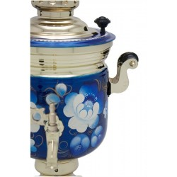 Electric samovar 3 liters «Jar» in a tea set «Zhostovo on blue» (with automatic power off)