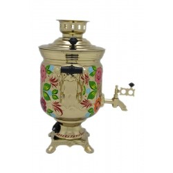 Electric samovar 3 liters «Jar» in a set with painting «Flowers on gold»