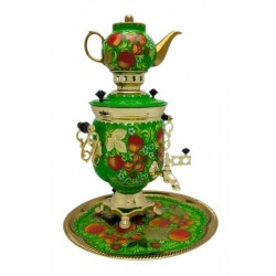 Electric samovar 3 liters «Jar» in a set with painting «Apples»