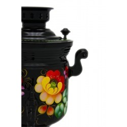 Electric samovar 3 liters «Jar» in a set with painting «Zhostovo on black» (with automatic power off)