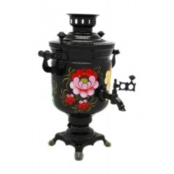 Electric samovar 3 liters «Jar» with painting «Zhostovo on black»