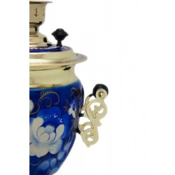 Electric samovar 3 liters «Acorn» in a set «Zhostovo on blue» (with automatic power off)