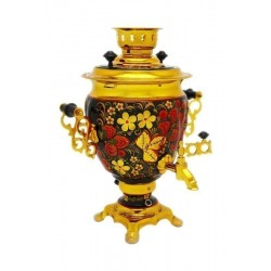 Electric samovar 3 liters «Acorn» with painting «Khokhloma» (with automatic power off)