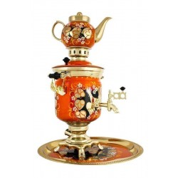 Electric samovar 3 liters «Jar» in a set with painting «Woodgrouses»