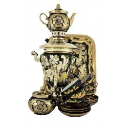 Electric samovar 3 liters «Wineglass» in a tea set «Cock on gold» (with automatic power off)