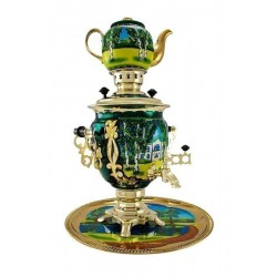 Electric samovar 3 liters «Acorn» in a set with painting «Yasnaya Polyana»