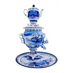 Electric samovar 3 liters «Acorn»in a set with painting «Winter gzhel» (with automatic power off)