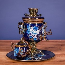 Electric samovar 3 liters «Acorn» in a set with painting «Zhostovo on blue»