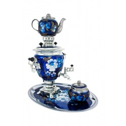 Electric samovar 3 liters «Acorn» in a set with sugar bowl «Zhostovo on blue» (with automatic power off)