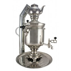 Charcoal-burning samovar 5 liters «Original» in a set «Present», nickel