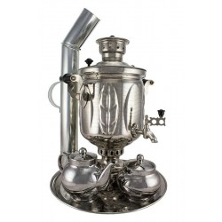 Charcoal-burning samovar 5 liters «Leaf» in a set «Present», nickel