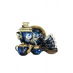 Electric samovar 3 liters «Acorn» in a tea set «Zhostovo on blue» with automatic power off