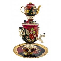 Electric samovar 3 liters «Jar» in a set with painting «Ashberry on red»